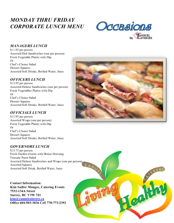 Vancouver Corporate Catering - Corporate Lunch Menus