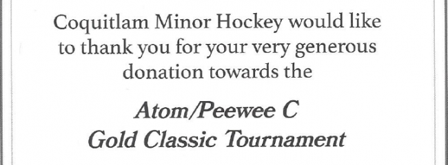 Pee Wee hockey thank you