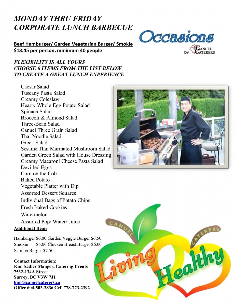 Vancouver Corporate Catering - Corporate Lunch Barbecue