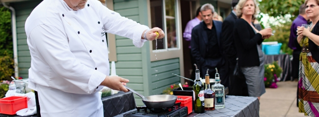 Skillet Flambe Station - Party Catering Service by Canuel Caterers